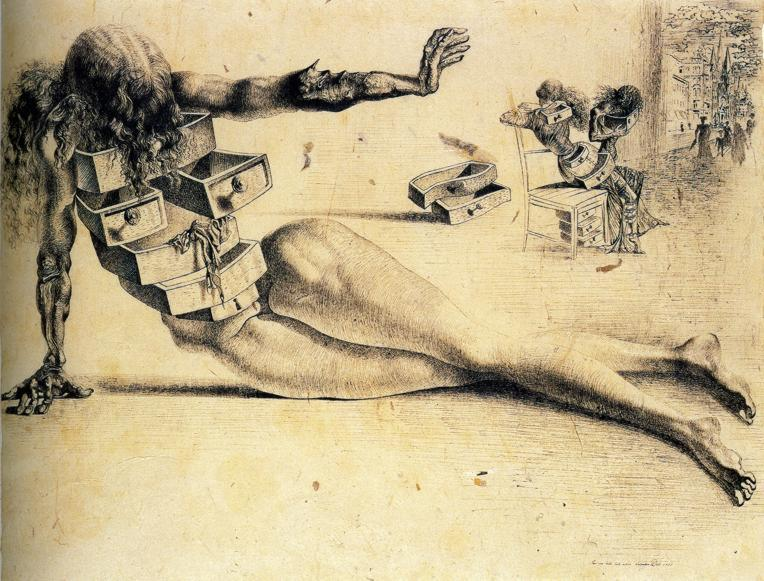 THE CITY OF DRAWERS - Study for the Anthropomorphic Cabinet, 1936.
