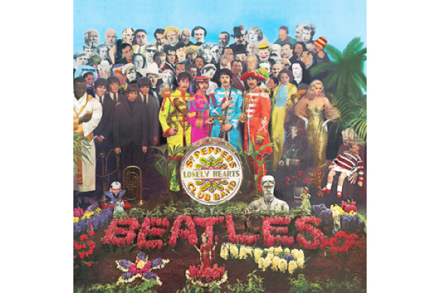 The Beatles berømte album Stg. Pepper's Lonely Hearts Club band laget av Peter Blake.