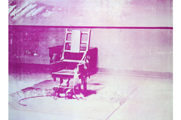 Andy Warhol, (1928–1987, USA), Big Electric Chair, 1967, syntetisk polymermaling og silketrykkfarger på lerret, 137,2 x 188 cm. Foto: AFM.