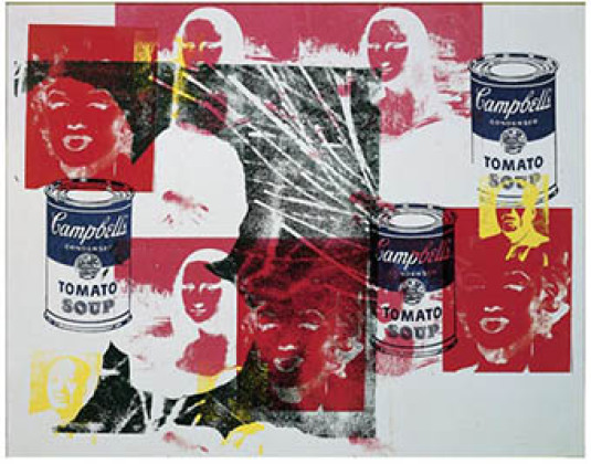 Andy Warhol, Multicolored Retrospective, 1979, akryl og silketrykk på lerret.  128 x 162 cm, Astrup Fearnley Collection, Oslo © Andy Warhol Foundation for Visual Arts / BONO, Oslo 2008