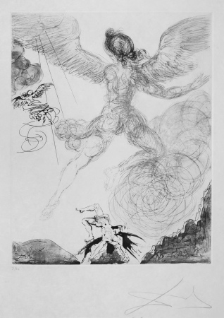 Salvador Dali - Icarus (Eoulus) (The Mythology) , signert radering