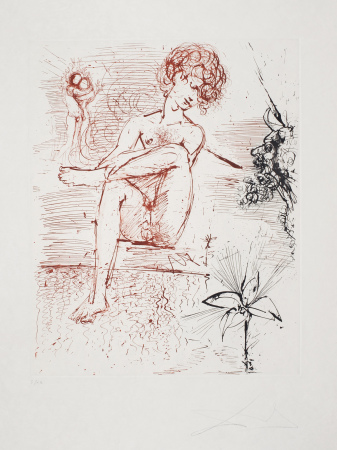 Salvador Dali - Narcissus (The Mythology) , signert radering