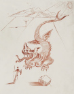 Salvador Dali - Le Dragon (Poems de Mao Tse-Tsung) , radering (sanguine)