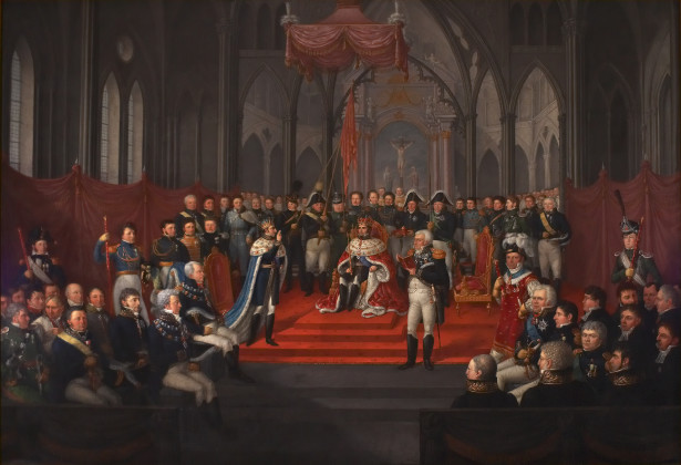 JACOB MUNCH: Kong Karl Johans kroning i Trondheims domkirke 7. september 1818. 1822.