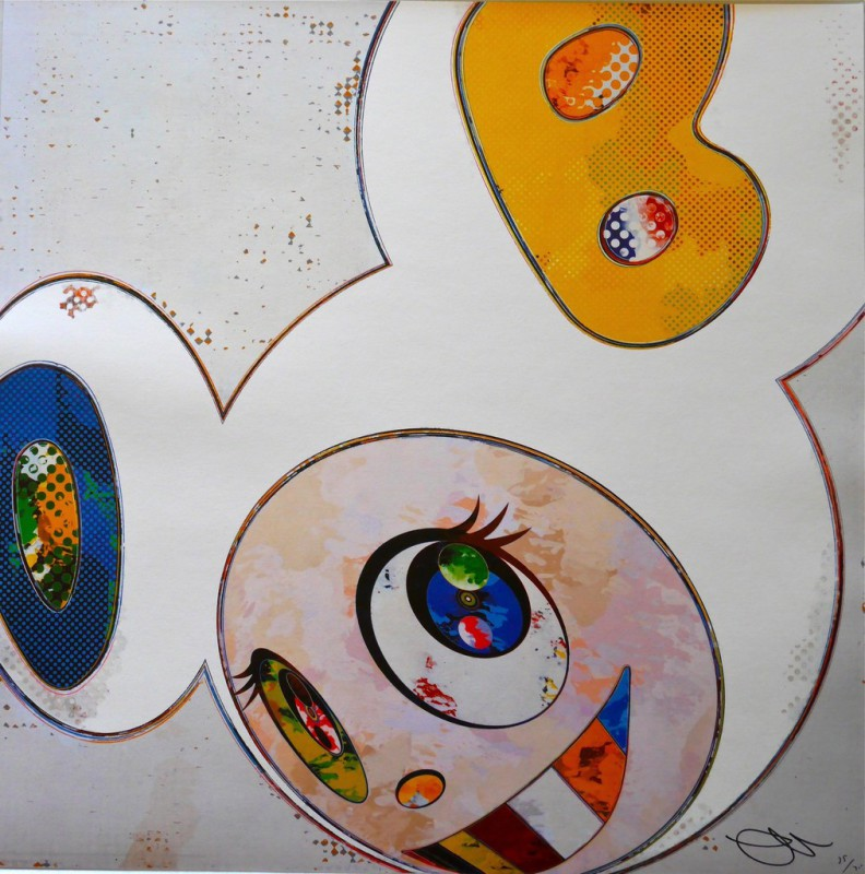 Takashi Murakami - And Then x 6 (White: The Superflat Method, Blue and Yellow Ears)