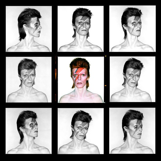 Brian Duffy - David Bowie, Aladdin Sane Eyes Open Demi contact sheet