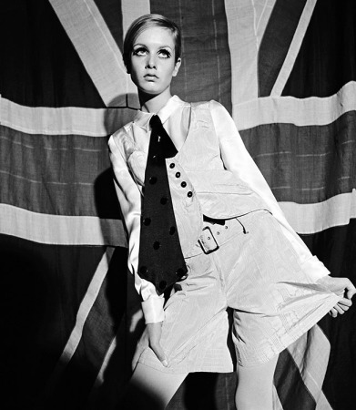 Terence Donovan - Twiggy modelling waistcoat and shorts ensemble by Mary Quant, June 1966 (24