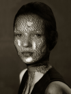 Albert Watson - Kate Moss in torn veil (B&W)