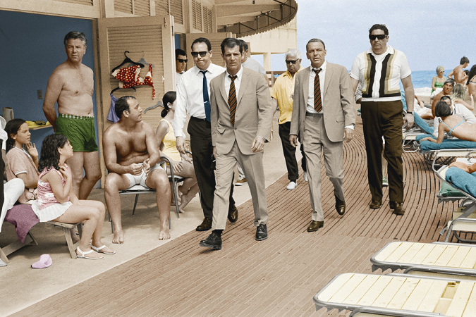 "Terry O'Neill - Frank Sinatra boardwalk (colourised) (30"" x 40"") (post mortem)"